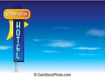 stile, vendemmia, albergo, segno, americano, retro, pubblicità