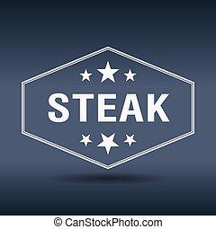 stile, vendemmia, etichetta, retro, esagonale, bistecca, bianco
