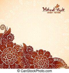 stile, vendemmia, indiano etnico, fondo, mehndi, floreale