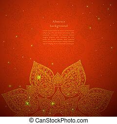 stile, vendemmia, ornamento, indiano, sfondo beige, ...