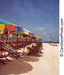 stile, vendemmia, scena, struttura, carta, spiaggia