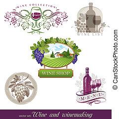 stile, verschieden, satz, &, etiketten, -, embleme, vektor, winemaking, wein