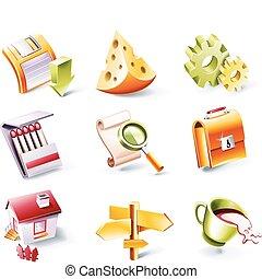stile, vettore, set., 2, p., cartone animato, icona