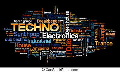 stile, wort, elektronisch, baum, etikett, musik, techno, ...