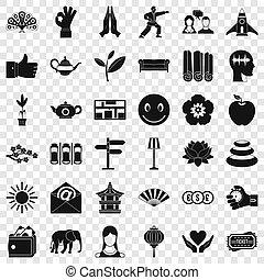 stile, yoga, icone, sano, set, semplice