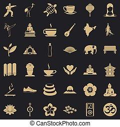 stile, yoga, icone, set, semplice, lezione