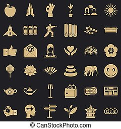 stile, yoga, icone, set, semplice, meditazione