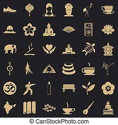 stile, yoga, icone, set, semplice, rilassamento