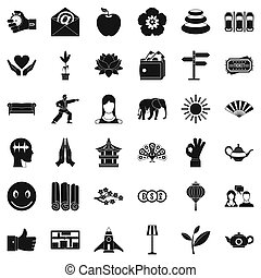 stile, yoga, icone, set, semplice, studio