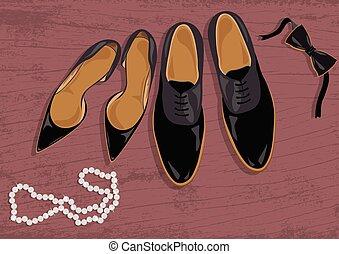 Stiletto and black leather men's shoes. Black elegant shoes...