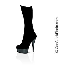 Illustration of a stiletto boot isolated on white