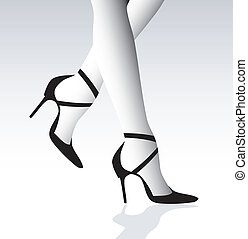 Stiletto heels on woman black and white illustration