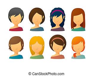 stili, faceless, avatars, capelli, vario, femmina