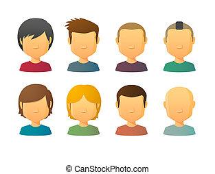 stili, faceless, avatars, capelli, vario, maschio