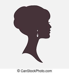 stilig, frisyr, kvinna, silhuett, ansikte