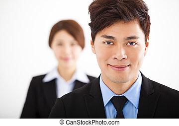 stilig, lycklig, affärsman, med, kolleger