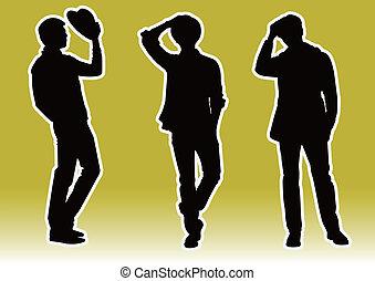 stilig, män, modell, silhuett