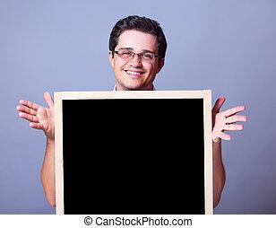 stilig, man, med, blackboard.
