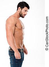 stilig, man, med, muskulös, kropp