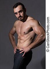 stilig, man, med, muskulös, topless, kropp