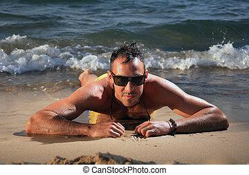 stilig, man, stranden