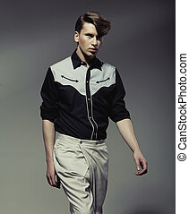 stilig, man, tröttsam, black&white, skjorta