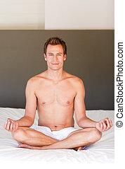 stilig, meditera, säng, man