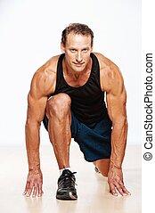stilig, muskulös, man, gör, fitness, exercise.