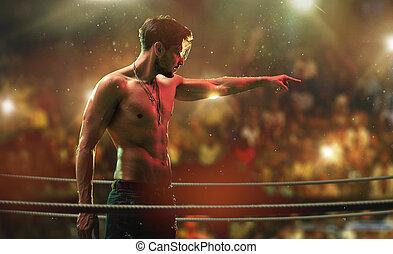 stilig, muskulös, man, på, den, strid, klubba, ringa