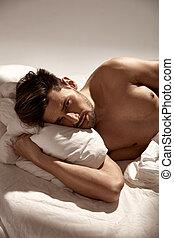 stilig, säng, grabb, avkopplande, lämplig