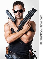 stilig, sexig, militär, man, med, vapen