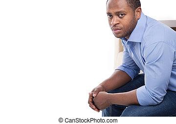 stilig, svärta manlign, in, blå, shirt., attraktiv, man, på,...