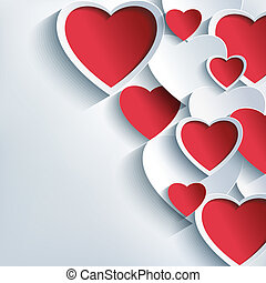 stilig, valentinkort dag, bakgrund, med, 3, röd, och, grå,...