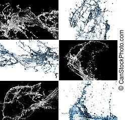 stilig, vatten, collage