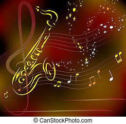 stilisiert, abstrakt, vektor, saxophon, hintergrund