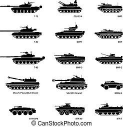 stilisiert, bilder, von, gepanzert, fahrzeuge, für, militaer, infographics