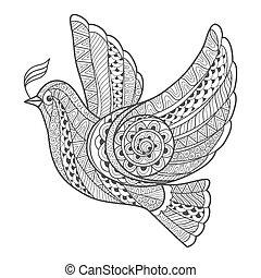 stilisiert, branch., taube, zentangle