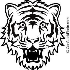 stilisiert, gesicht, tiger, vektor, schwarz, weißes