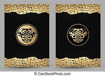 stilisiert, goldenes, führen satz, gold, beschaffenheit, dekoration, hintergrund., löwe, schwarz, banner
