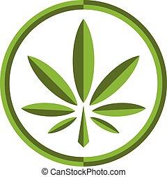 stilisiert, grün, marihuana, topf, unkraut