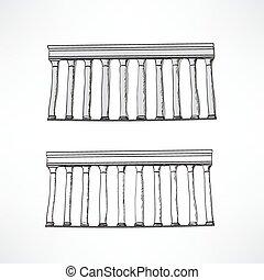 stilisiert, griechische spalten