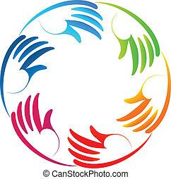 stilisiert, hände, gemeinschaftsarbeit, logo