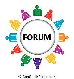 stilisiert, ikone, gruppe, forum, leute