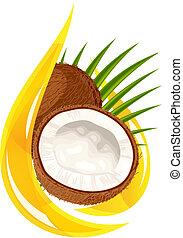 stilisiert, kokosnuss, oil., drop.