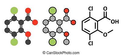 stilisiert, konventionell, gebraucht, skelettartig, dicamba, molecule., unkraut, 2d, wiedergaben, control., herbizid, formula.