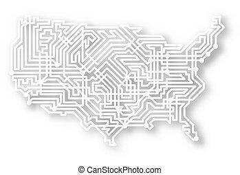 stilisiert, landkarte, usa
