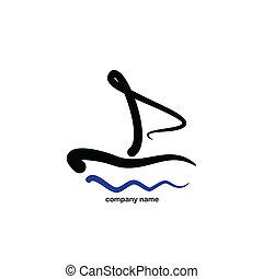stilisiert, logo, -, segeln