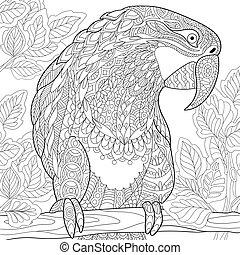 stilisiert, macaw, papagai, zentangle
