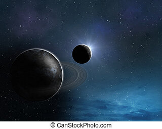 stilisiert, planeten, hintergrund, raum