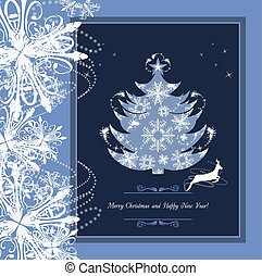 stilisiert, rahmen, baum., weihnachten
